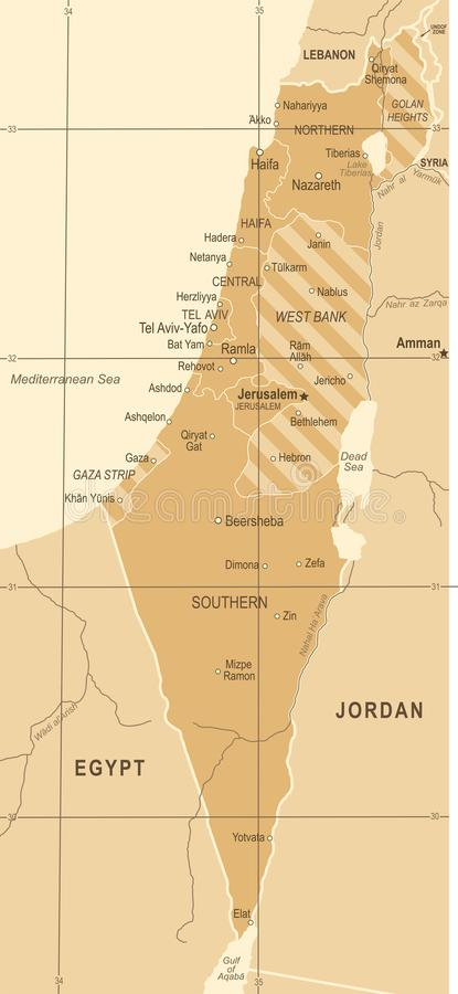 Israel Map - ejemplo del vector del vintage libre illustration