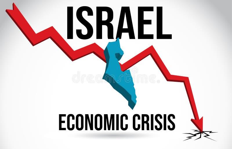 Israel Map Financial Crisis Economic Collapse Market Crash Global Meltdown Vector. Illustration stock illustration