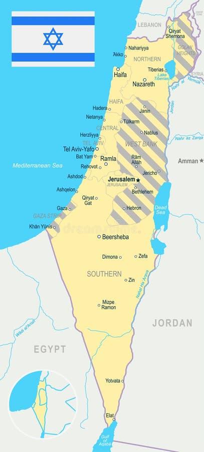 Israel - Map And Flag Illustration Stock Illustration ...
