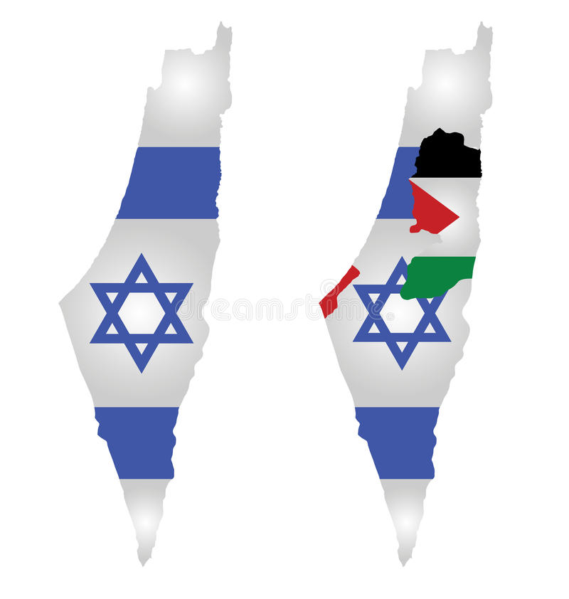 Israel Map Flag. Flag of Israel overlaid on map with second map showing the disputed Palestinian territories of the West Bank and the Gaza Strip with the stock illustration