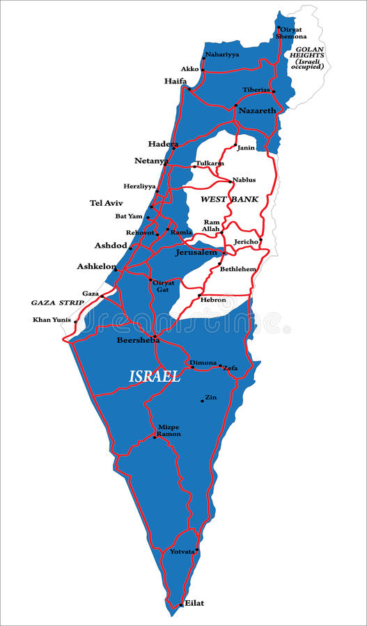Download Israel Map Isolated On White Stock Vector - Image: 24975542
