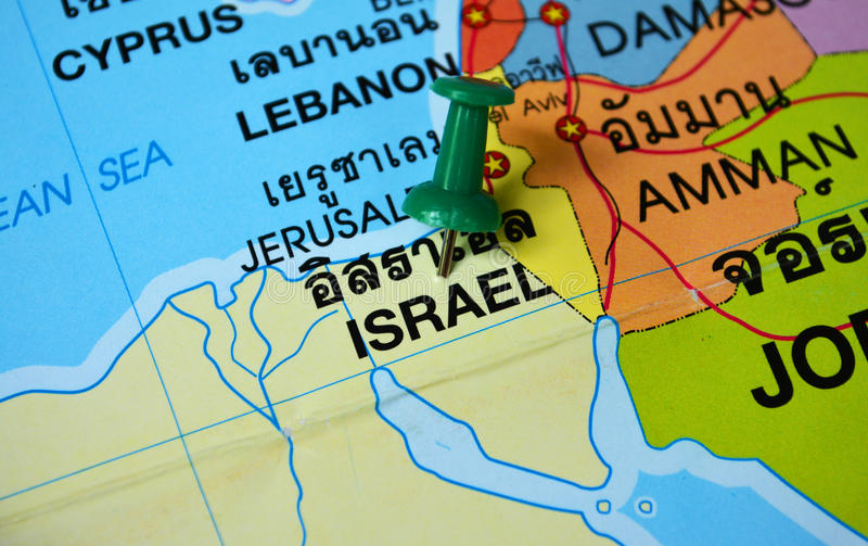 Israel map. Macro shot of israel map with push pin royalty free stock photography