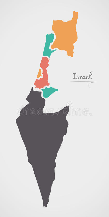 Israel Map with states and modern round shapes. Illustration royalty free illustration