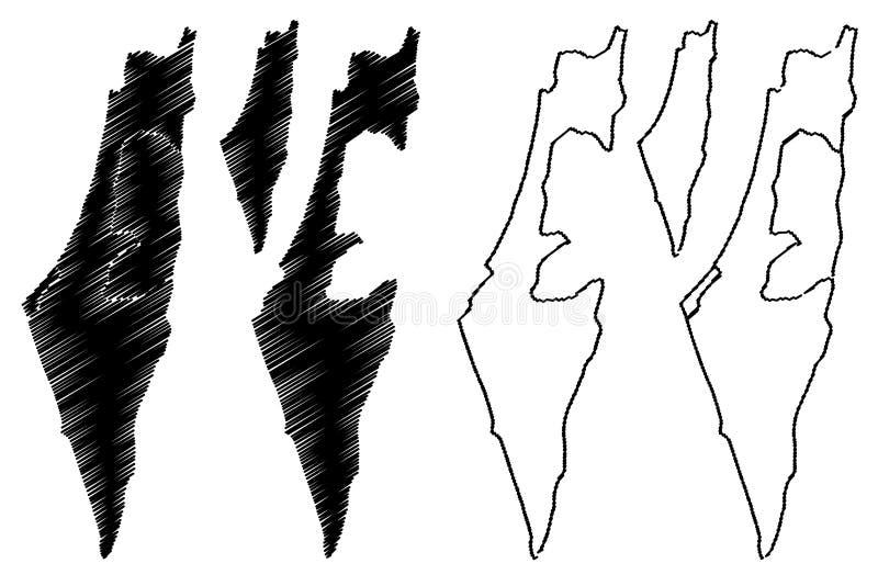 Israel map vector. Illustration, scribble sketch State of Israel, West Bank and Gaza Strip stock illustration