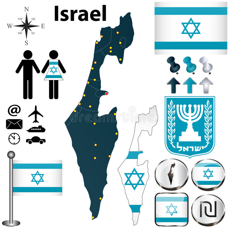 Israel map. Vector of Israel set with detailed country shape with region borders, flags and icons stock illustration