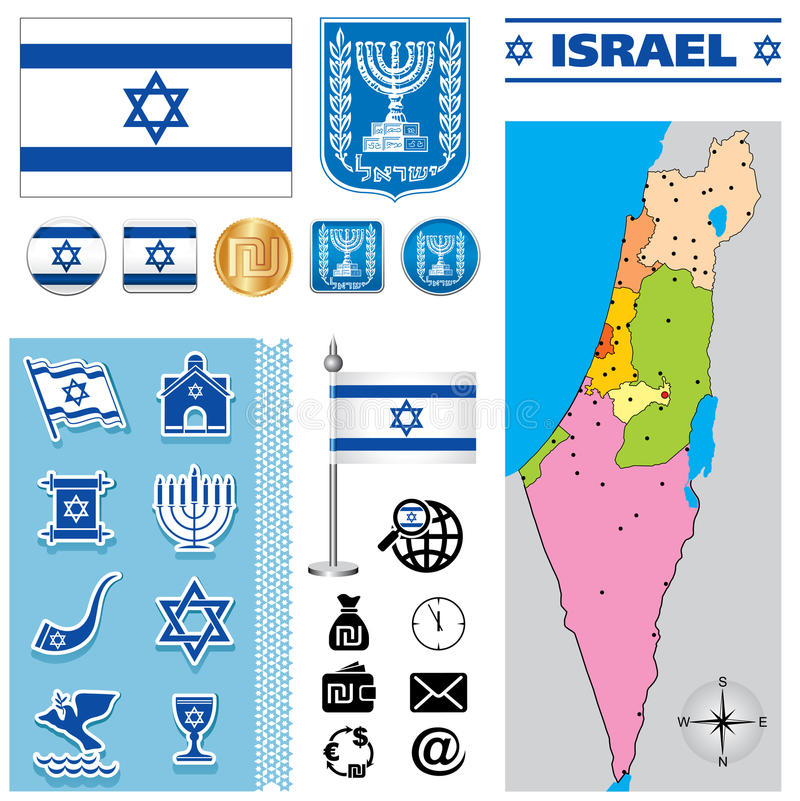 Israel map. Vector map of Israel with a set of signs and symbols stock illustration