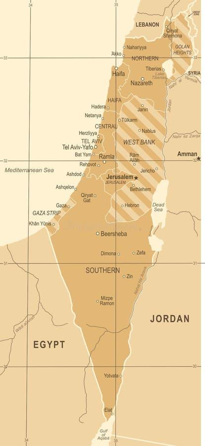Israel Map - Weinlese-Vektor-Illustration lizenzfreie abbildung
