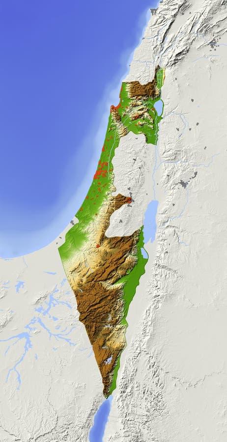 Israel, mapa de relevo protegido ilustração do vetor