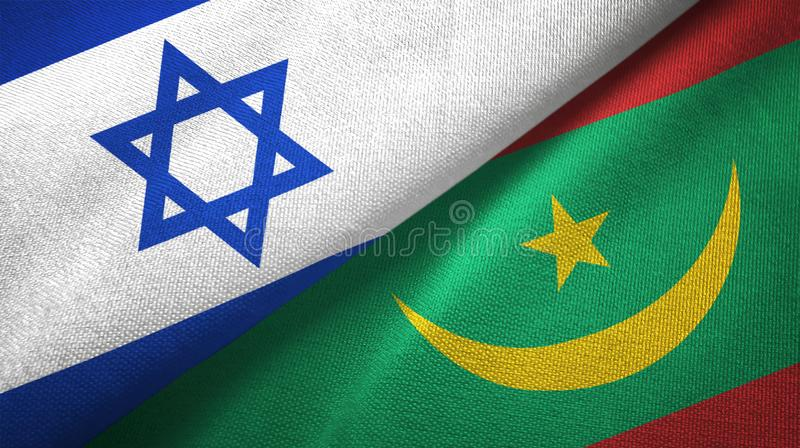 Israel And Mauritania Two Flags On Flagpoles And Blue Cloudy Sky Stock Image - Image of symbol, flag: 177236487
