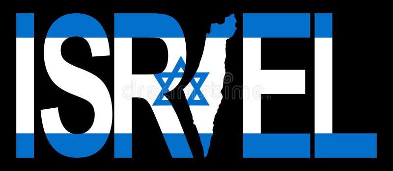 Israel mit Karte auf Markierungsfahne stock abbildung