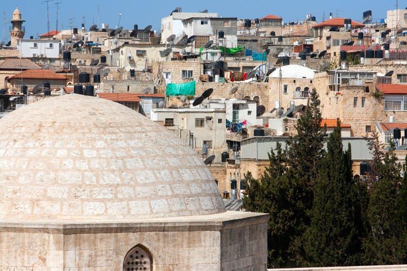 israel muslim Jerusalem ćwiartują dachy zdjęcie royalty free