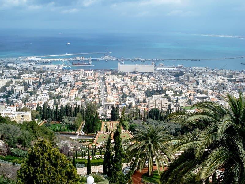 israel Natanya panorama- sikt för stad arkivbilder