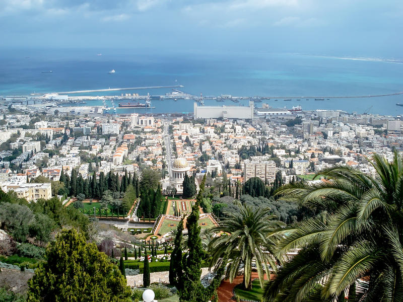 Israel. Natanya. Panoramic view of the city. And The mediterranean sea stock images
