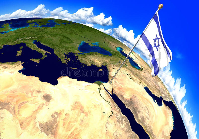 Israel national flag marking the country location on world map. 3D rendering, parts of this image furnished by NASA royalty free illustration