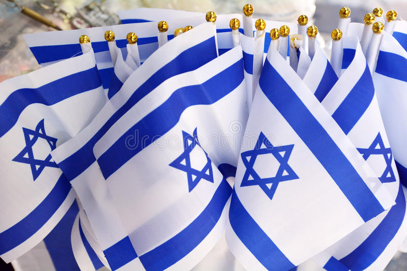 Israel national flags stock photo