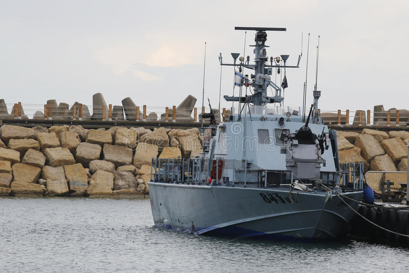 Israel Navy Patrol Boat Super Dvora Mk III in Hertzlija-Jachthafen lizenzfreies stockbild
