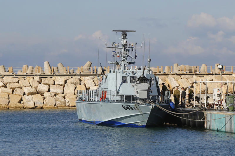 Israel Navy Patrol Boat Super Dvora Mk III in Herzliya Marina. HERZLIYA, ISRAEL - NOVEMBER 24: Israel Navy Patrol Boat Super Dvora Mk III in Herzliya Marina on stock photo