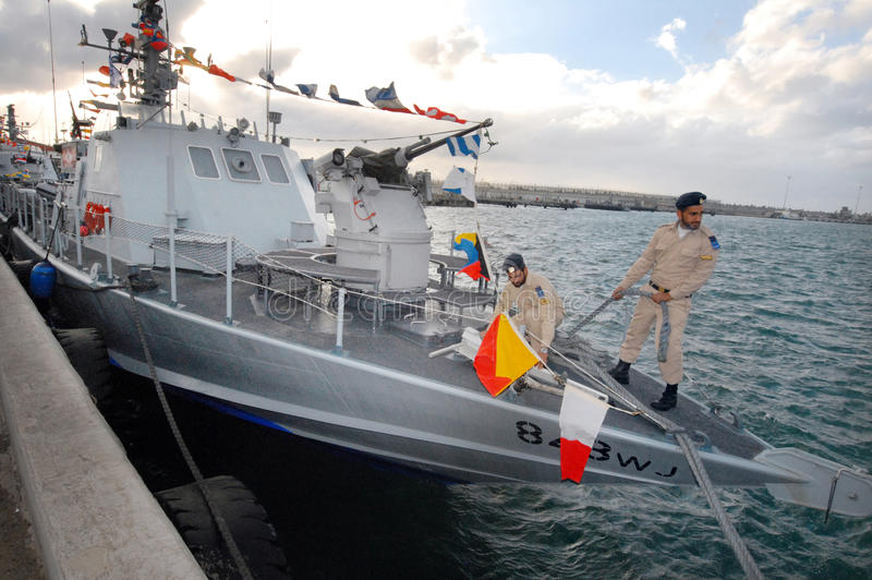 Israel Navy Super Dvora Mk III-class patrol boat. ASHDOD, ISR - JAN0 3:Israel Navy Super Dvora Mk III-class patrol boat on Jan 03.It's the latest generation of stock images