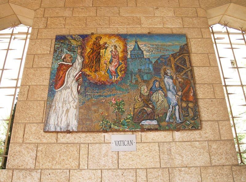 Israel, Nazareth Templo del día de señora Icono del mosaico de la madre de foto de archivo