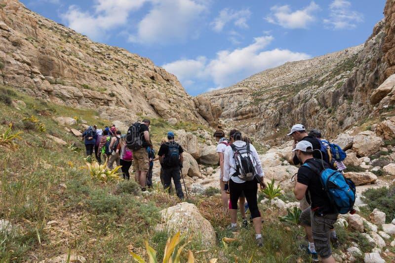 Download ISRAEL, NEGEV DESERT - APRIL 07, 2016: People Go Through Rocky Desert. ISRAEL, NEGEV DESERT Editorial Photography - Image: 83709897