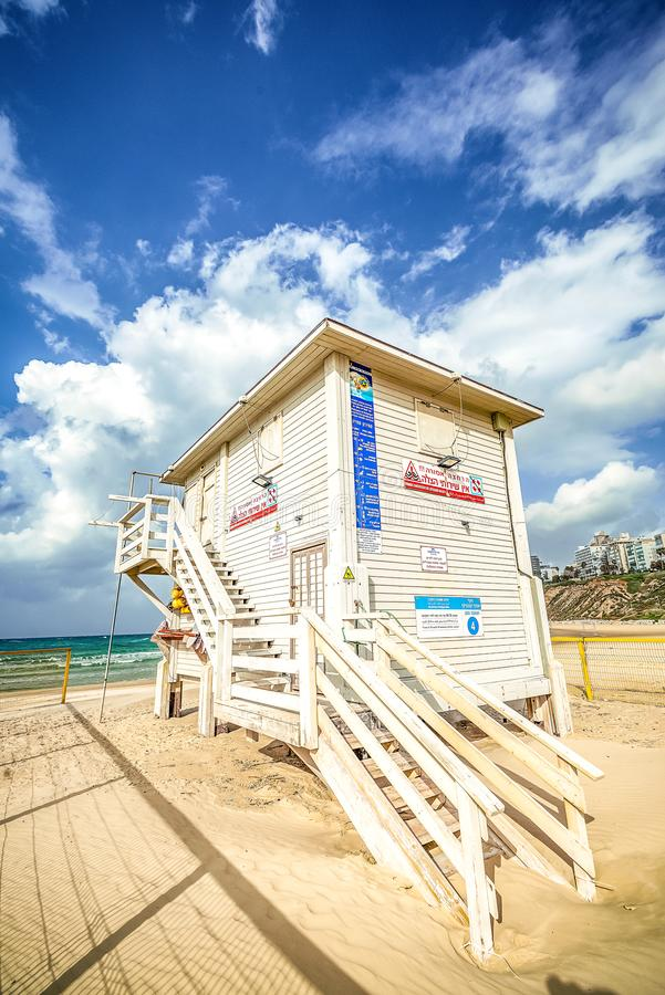 15/12/2018 Israel, Netanya, lifeguard Post on the Mediterranean Sea on a sunny day royalty free stock image