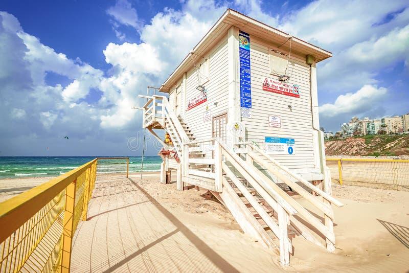 15/12/2018 Israel, Netanya, lifeguard Post on the Mediterranean Sea on a sunny day. 15/12/2018 Israel, Netanya, lifeguard Post on the Mediterranean Sea stock photography