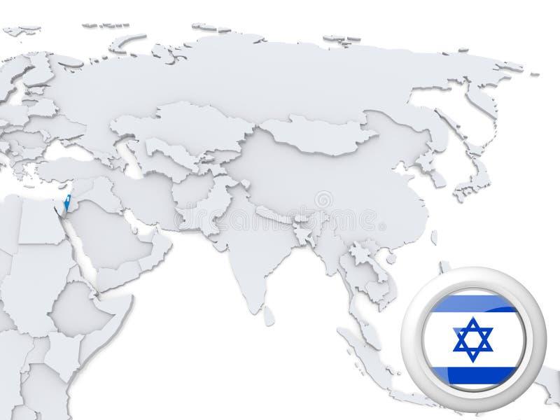 Israel no mapa de Ásia ilustração royalty free