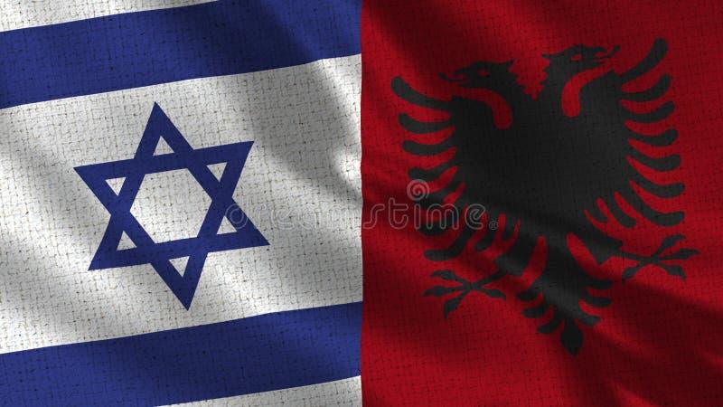Israel och Albanien flagga - två sjunker tillsammans arkivfoton