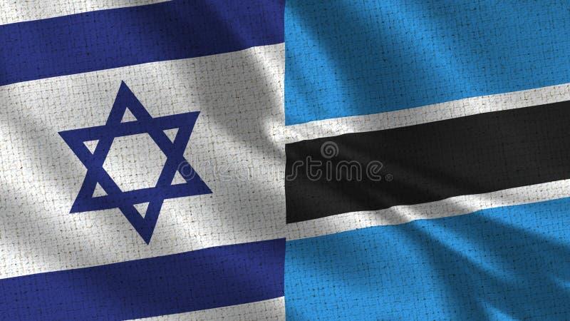 Israel och botswansk flagga - två sjunker tillsammans arkivbild