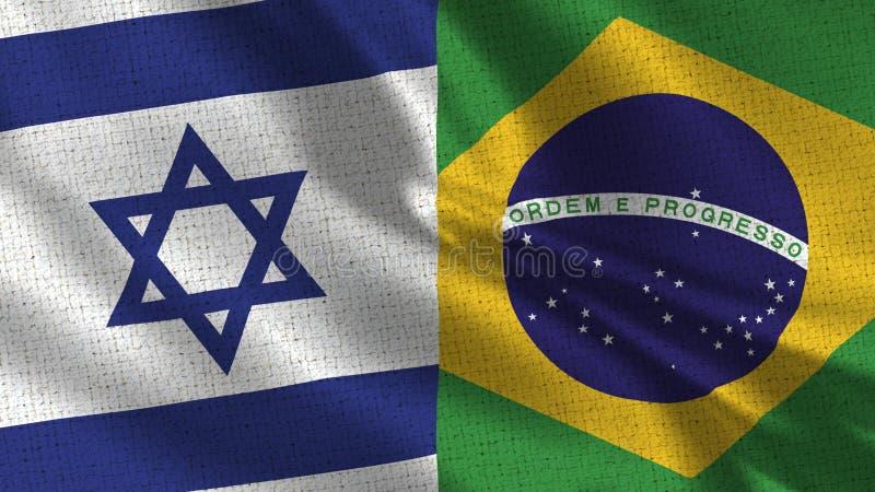 Israel och Brasilien flagga - två sjunker tillsammans royaltyfri bild