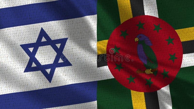 Israel och Dominica Flag - två flaggor tillsammans royaltyfri fotografi
