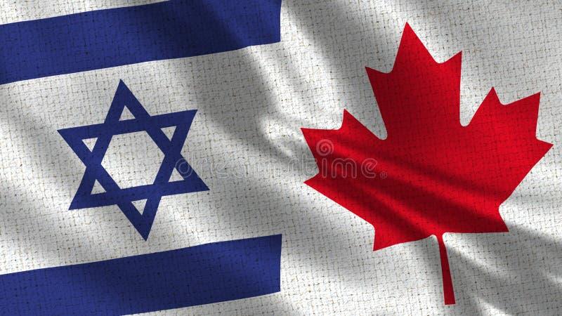 Israel och Kanada flagga - två sjunker tillsammans fotografering för bildbyråer