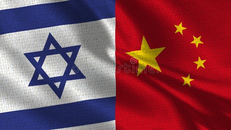 Israel och Kina flagga - två flaggor tillsammans royaltyfria bilder