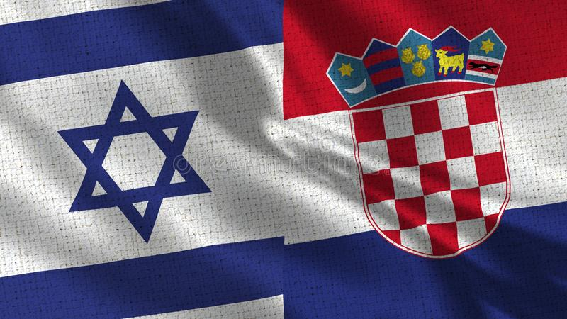 Israel och Kroatienflagga - två flaggor tillsammans royaltyfria bilder