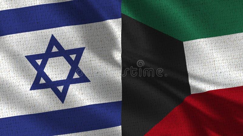 Israel och Kuwait flagga - två flaggor tillsammans royaltyfri bild