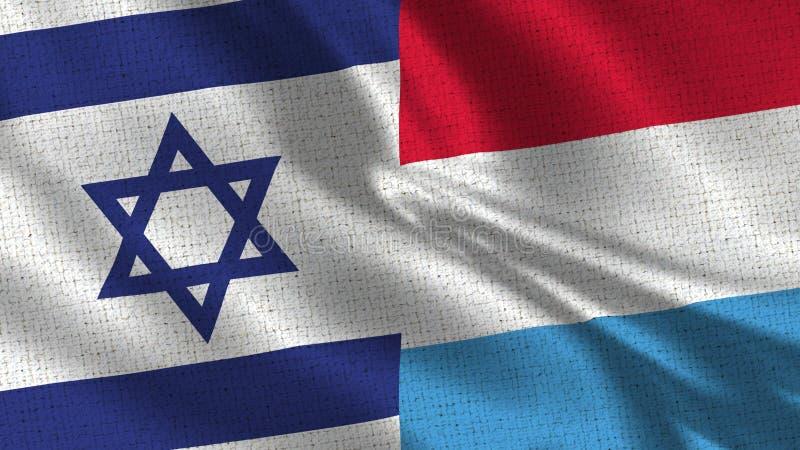 Israel och Luxembourg flagga - två flaggor tillsammans arkivfoton