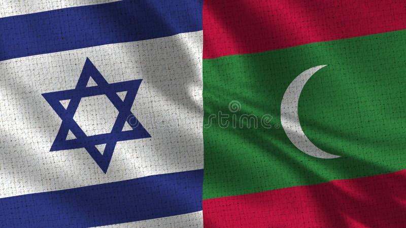 Israel och Maldiverna flagga - två flaggor tillsammans arkivbild