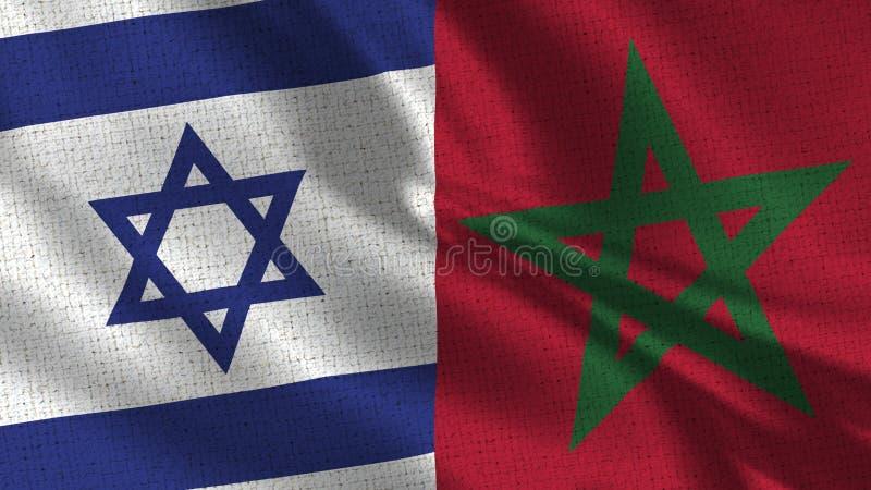 Israel och Marocko flagga - två flaggor tillsammans fotografering för bildbyråer