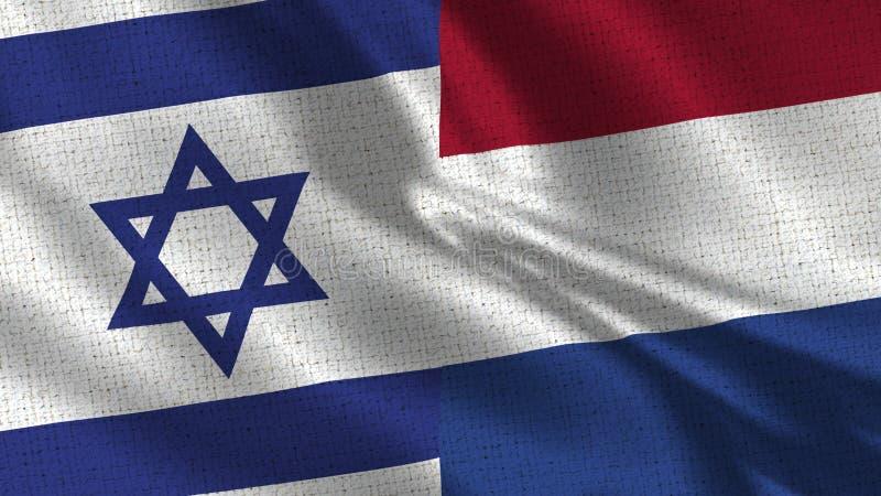 Israel och Nederländernaflagga - två flaggor tillsammans arkivbilder