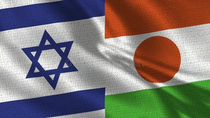 Israel och Niger Flag - två flaggor tillsammans arkivfoton