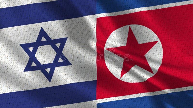 Israel och Nordkorea flagga - två flaggor tillsammans royaltyfria bilder