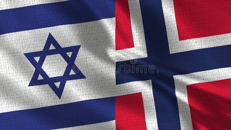 Israel och Norge flagga - två flaggor tillsammans royaltyfria bilder