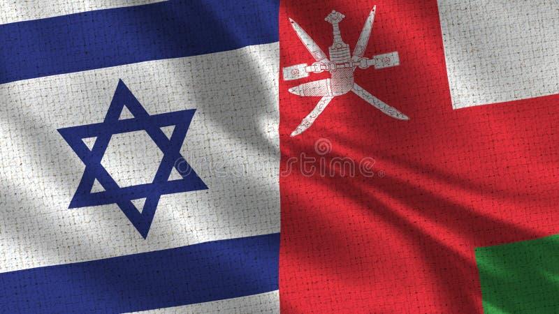 Israel och Oman flagga - två flaggor tillsammans arkivbilder
