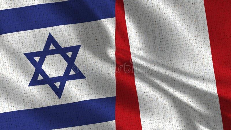 Israel och Peru Flag - två flaggor tillsammans arkivfoton