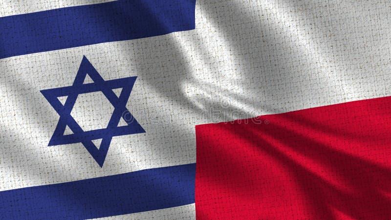 Israel och Polen flagga - två flaggor tillsammans royaltyfria foton