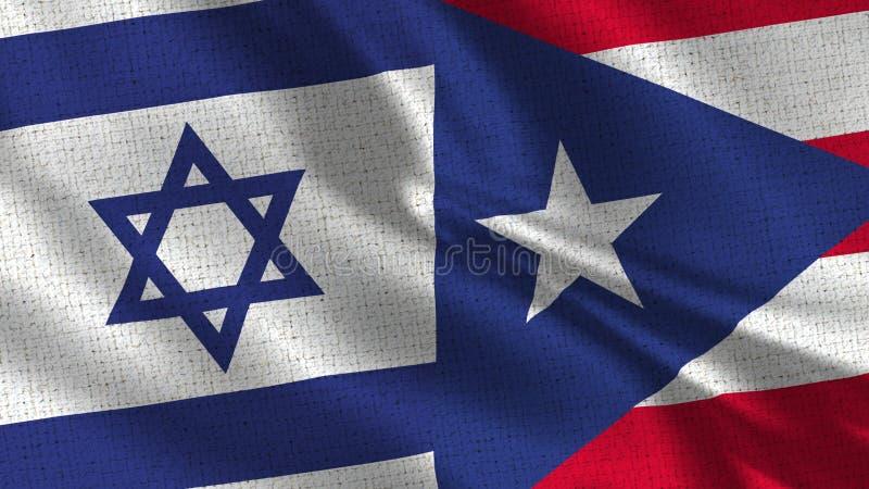Israel och Puerto Rico Flag - två flaggor tillsammans fotografering för bildbyråer