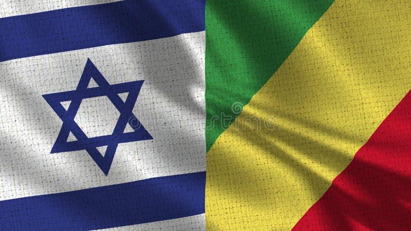 Israel och Republiken Kongo flagga - två flaggor tillsammans fotografering för bildbyråer