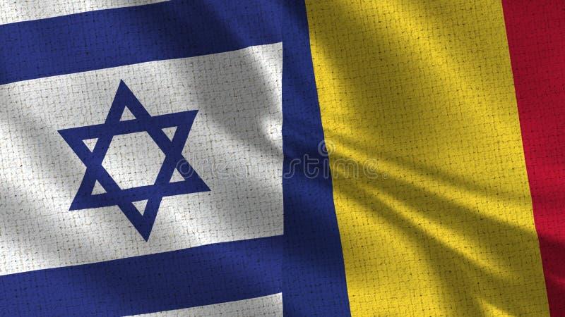 Israel och Rumänien flagga - två flaggor tillsammans arkivbild