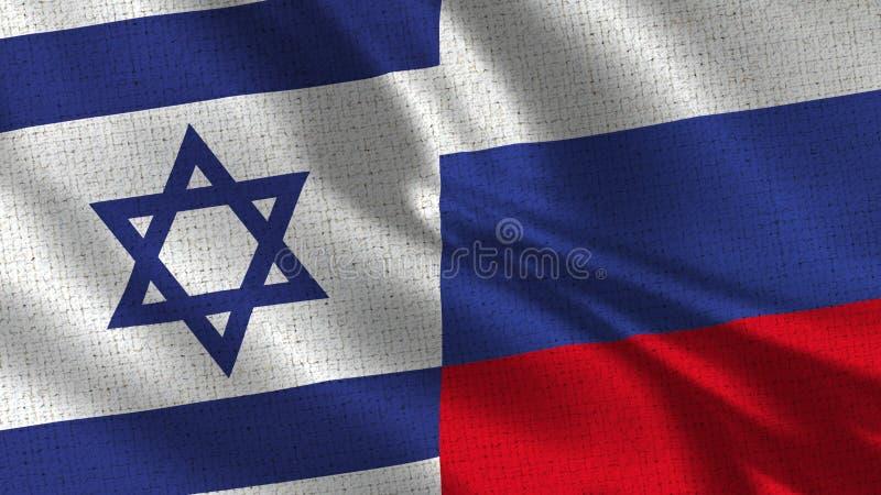Israel och Ryssland flagga - två flaggor tillsammans fotografering för bildbyråer