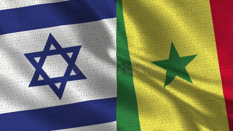 Israel och Senegal flagga - två flaggor tillsammans arkivfoton